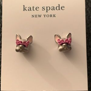 🆕 Kate Spade French bulldog earrings silver